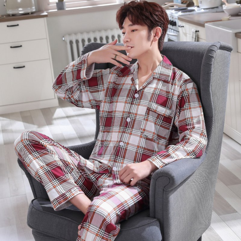Men Comfortable Spring and Autumn Cotton Long Sleeve Casual Breathable Home Wear Set Pajamas 5635_XXL