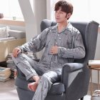 Men Comfortable Spring and Autumn Cotton Long Sleeve Casual Breathable Home Wear Set Pajamas 5637 XXXL
