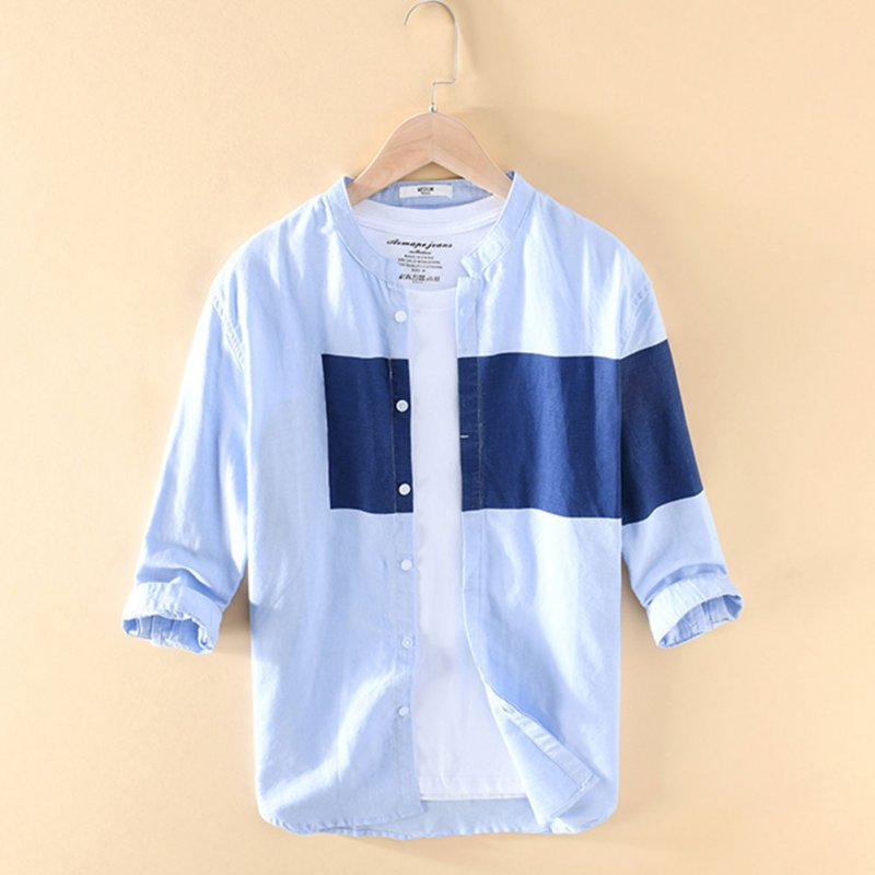 Men Cotton Linen Shirt Summer Lapel Splicing Casual Three Quarter Sleeve Loose Tops Light blue_XXL