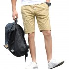 Men Cotton Middle Length Trousers Baggy Fashion Slacks Sport Beach Shorts Khaki (fish bone)_XXL