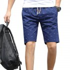Men Cotton Middle Length Trousers Baggy Fashion Slacks Sport Beach Shorts Navy (fish bone)_XXL