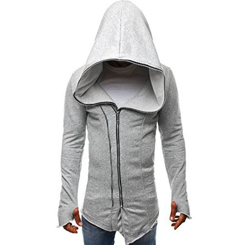 Men Dark Cloak Design Hoodie Fashionable Warm Hooded Pullover Top with Zipper Closure light grey_2XL