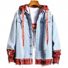Men Fake Two Pieces Denim Jacket Plaid Short Fashion Coat  260 red plaid- light blue_XL