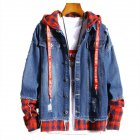 Men Fake Two Pieces Denim Jacket Plaid Short Fashion Coat  260 red plaid   dark blue XL