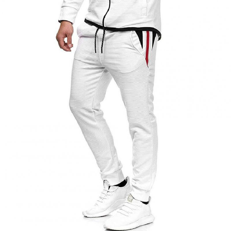 Men Fall Winter Casual Fashion Stripes Middle-Waisted Pants Trousers for Sports Casual Business white_L