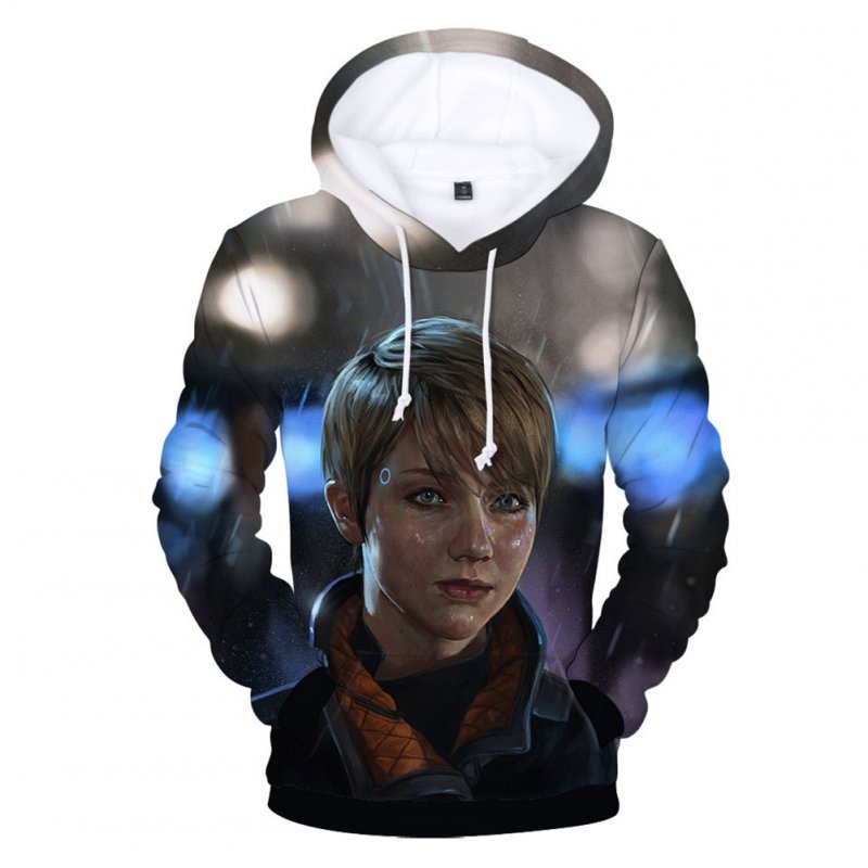 Men Fashion 3D Digital Print Hoodie Casual Hooded Loose Type Sweater Tops B#_L
