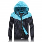 Men Fashion Autumn Thin Hooded Casual Slim Jacket Tops Coat blue_XXL