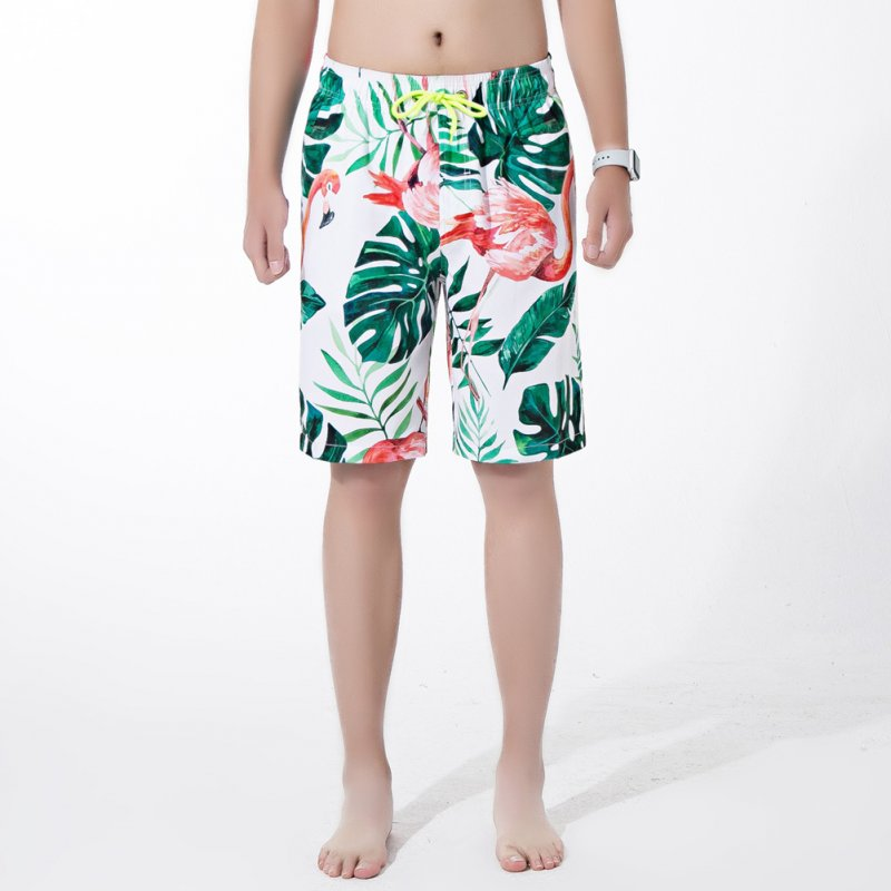 Men Fashion Breathable Loose Quick-drying Casual Printed Shorts Beach Pants Red flamingo_L
