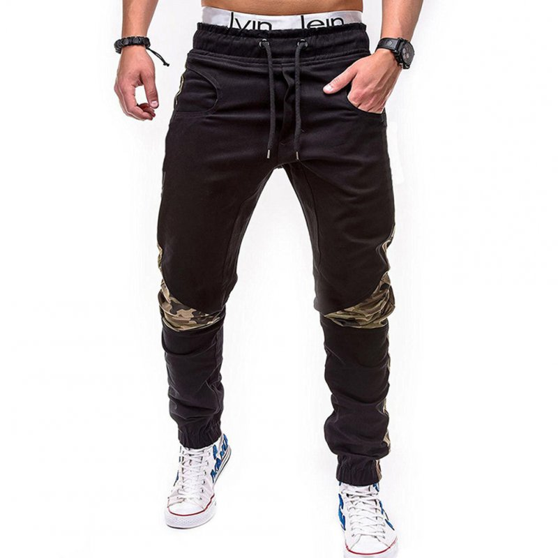 Men Fashion Camouflage Stitching Trousers Tight Trousers Foot Loose Casual Trousers  black_L