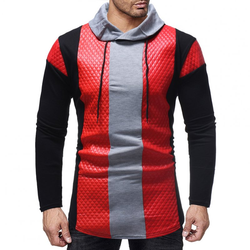 Men Fashion Casual Long Sleeve Collar Long Sleeve T-Shirt Tops red_M