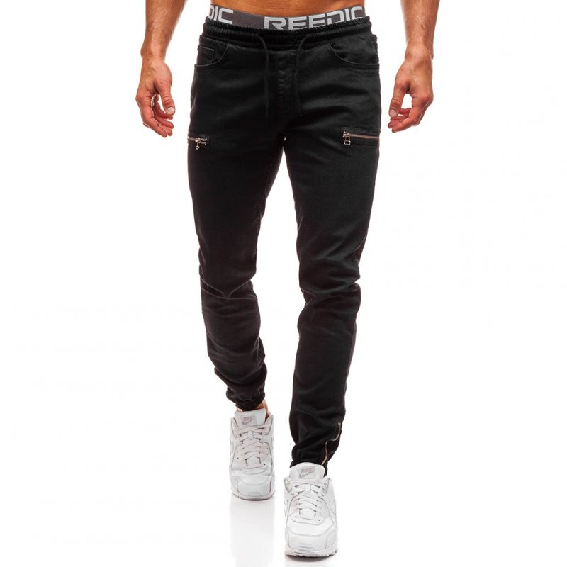 Men Fashion Casual Loose Frosted Zip Up Sports Jeans Denim Pants Trousers black_3XL