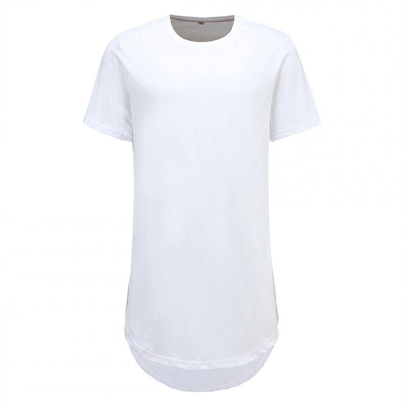 Men Fashion Casual Loose Round Hem Elongated Solid Color T-shirt white_L