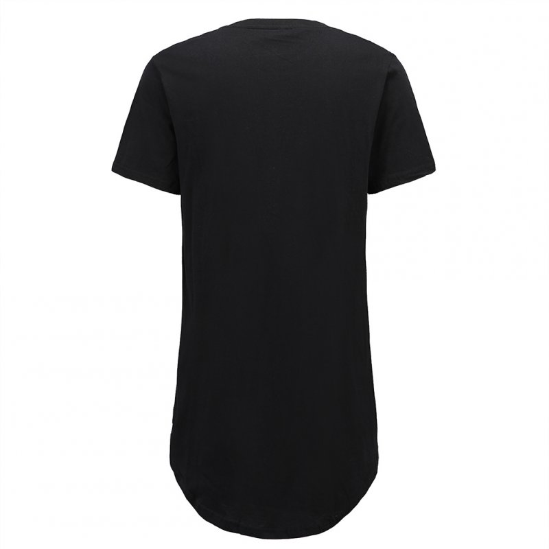 Men Fashion Casual Loose Round Hem Elongated Solid Color T-shirt black_L