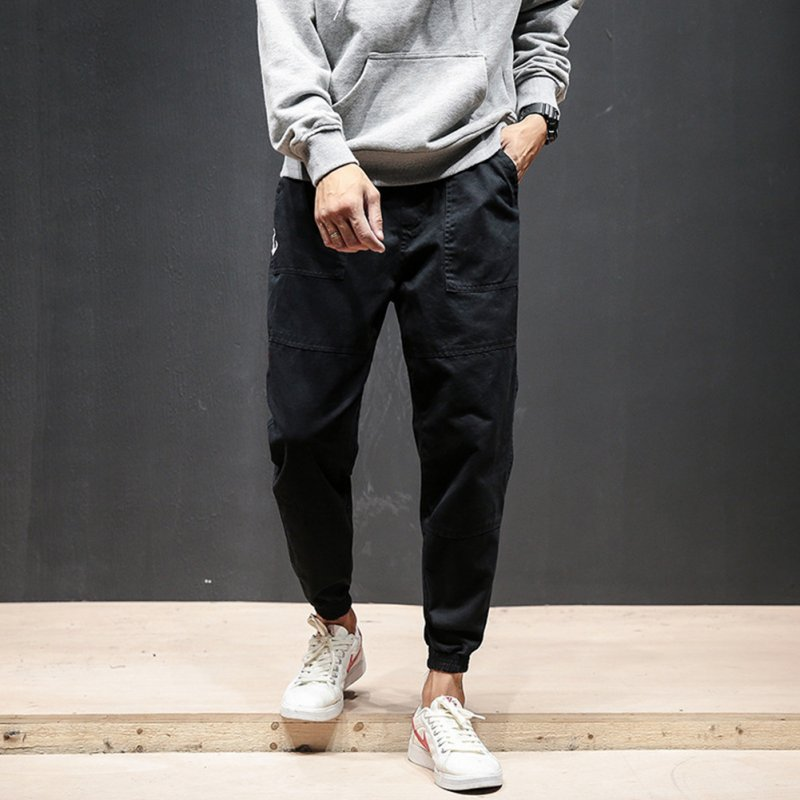 Men Fashion Casual Loose Cotton Casual Ankle Banded Pants Trousers black_XXL