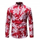 Men Fashion Casual Printing Stand Collar Long Sleeve T shirt red 2XL