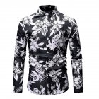 Men Fashion Casual Printing Stand Collar Long Sleeve T-shirt black_3XL