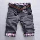 Men Fashion Casual Slim Cropped Trousers with Zipper gray_XXL
