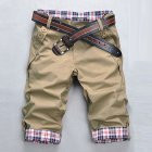 Men Fashion Casual Slim Cropped Trousers with Zipper Khaki_L