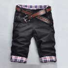 Men Fashion Casual Slim Cropped Trousers with Zipper black_XXXL