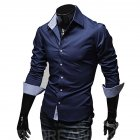 Men Fashion Casual Solid Color Long Sleeve Slim Shirts  Navy blue_XL