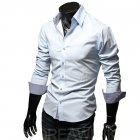 Men Fashion Casual Solid Color Long Sleeve Slim Shirts  Light blue_XXL