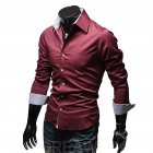 Men Fashion Casual Solid Color Long Sleeve Slim Shirts  Red wine_XL