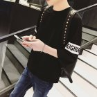 Men Fashion Casual Spring   Summer Loose Three Quarter Sleeve T Shirt Tops Three Quarter Sleeve Black M