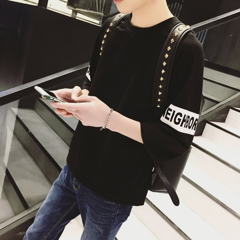 Men Fashion Casual Spring / Summer Loose Three Quarter Sleeve T-Shirt Tops Three Quarter Sleeve Black_M