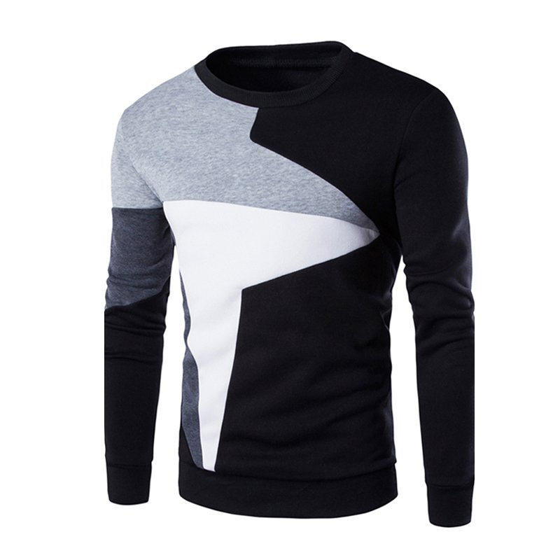 Men Fashion Chic Hit Color Long Sleeve Sweater Simple Casual Sweatshirt Pullover black_M