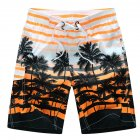 Men Fashion Coconut Tree Printed Quick Dry Beach Pants  Orange_XXL