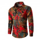 Men Fashion Cool Printing Casual Long Sleeve T-shirt red_3XL