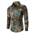 Men Fashion Cool Printing Casual Long Sleeve T-shirt green_3XL