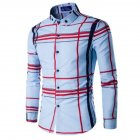 Men Fashion Digital Print Large Plaid Long Sleeve Shirt Tops sky blue XXL