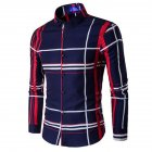Men Fashion Digital Print Large Plaid Long Sleeve Shirt Tops Navy_XL