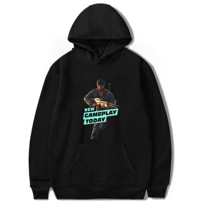 Men Fashion Game Figure Printing Hooded Sweatshirt Black A_M