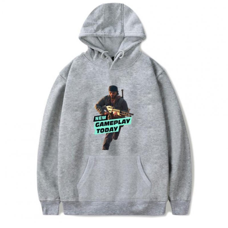 Men Fashion Game Figure Printing Hooded Sweatshirt Gray A_XXXL
