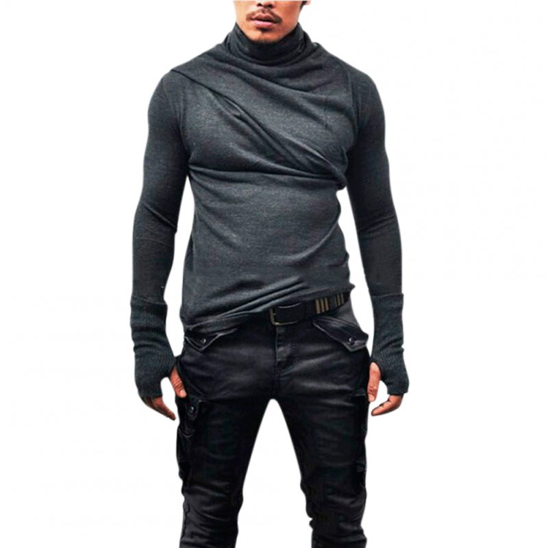 Men Fashion Heap Collar Shirt Super Long Sleeve with Gloves Casual Shirt Solid Color Tops gray_M