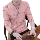 Men Fashion Long Sleeve T-shirt Printing Round Collar Slim Fit Casual Bottom Shirt  pink_M