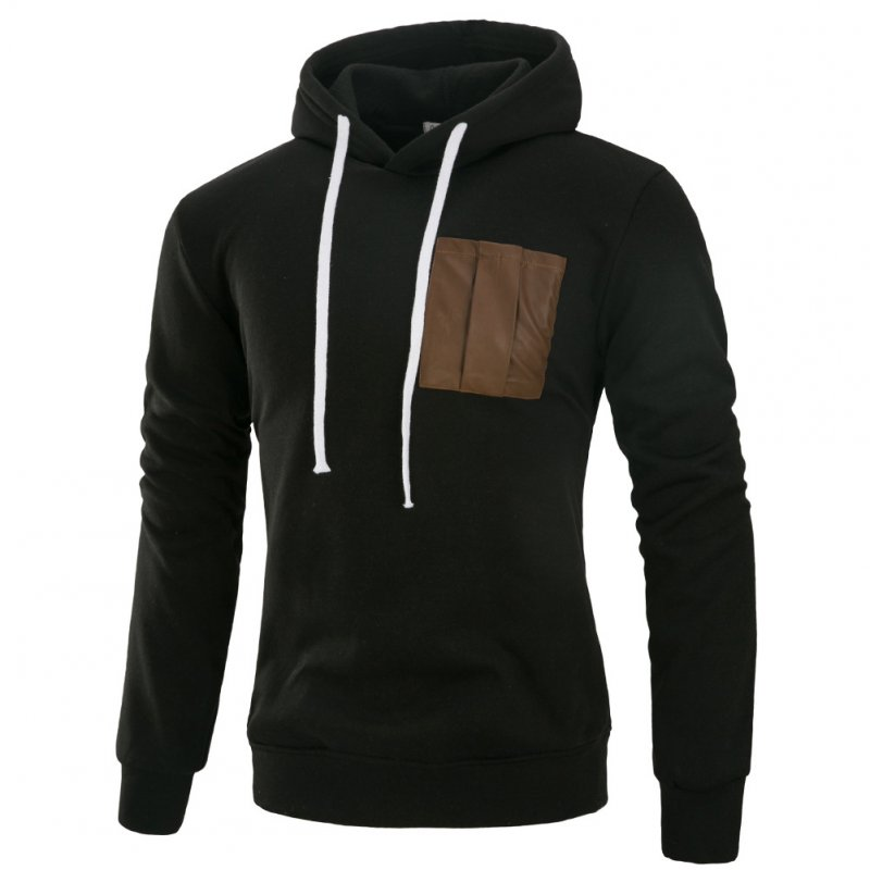 Men Fashion Long Sleeve Hooded Casual Pullover Sweatshirt Tops Black_2XL