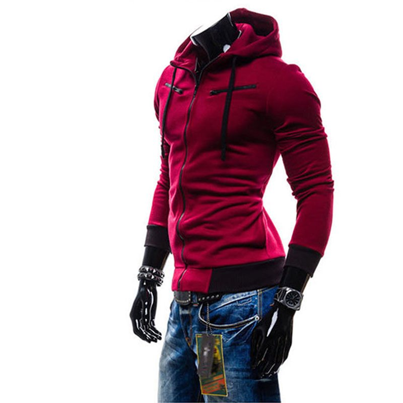 Men Fashion Matching Color Fleece Cardigan Hoodie Windproof Warm Drawstring Jacket Red wine_XL