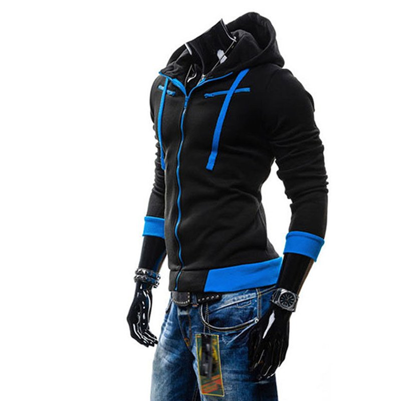Men Fashion Matching Color Fleece Cardigan Hoodie Windproof Warm Drawstring Jacket black_XL