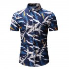 Men Fashion New Casual Short Sleeve Floral Slim Shirt Tops Navy blue_M