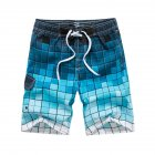 Men Fashion Printing Beach Pants Casual Home Wear Surf Shorts blue_L
