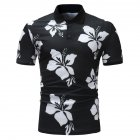 Men Fashion Printing Large Size Casual Lapel Short Sleeves Shirt Black and White_XL