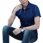 Men Fashion Short sleeved Shirts Solid Color No Ironing Business Attire Slim Tops dark blue L