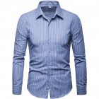Men Fashion Slim Casual Plaid Long Sleeve Shirt Light blue_XL