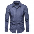 Men Fashion Slim Casual Plaid Long Sleeve Shirt Navy blue_XL