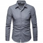Men Fashion Slim Casual Plaid Long Sleeve Shirt light grey_M