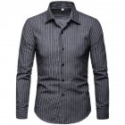 Men Fashion Slim Casual Plaid Long Sleeve Shirt Dark gray_2XL
