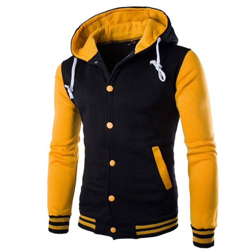 Men Fashion Slim Fit Sweatshirts Short Style Matching Color Tops Hoodies yellow_L